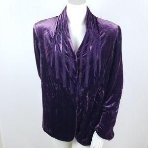Lane Bryant Crushed Velvet Silk Blazer Purple 20